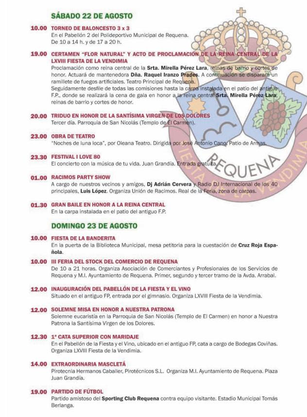 Feria y Fiesta de la Vendimia 2015 en Requena Programa