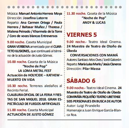 Programa de la Feria y Fiestas de San Miguel en Ubeda