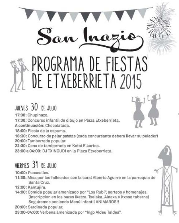 Programa Etxeberrietako Jaiak en Andoain 2015 Fiestas
