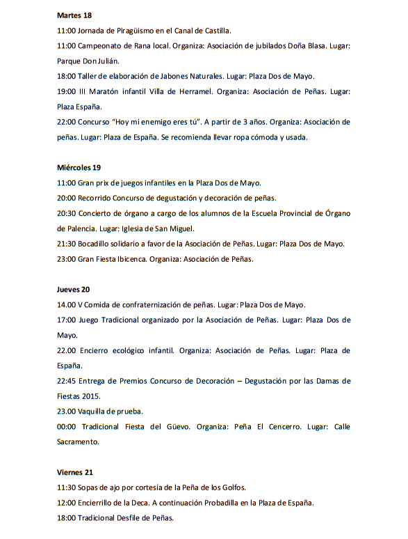 Programa de las Fiestas de Villarramiel 2015