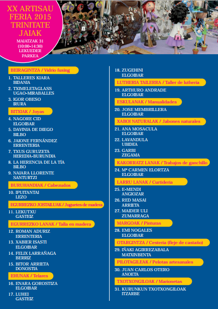 Programa de las Fiestas de Trinidad Trinitate Jaiak 2015 en Elgoibar, Feria de Artesanía
