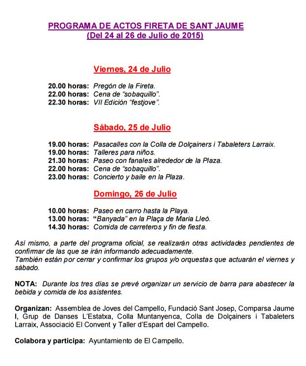 Programa de la Fireta de Sant Jaume en El Campello 2015