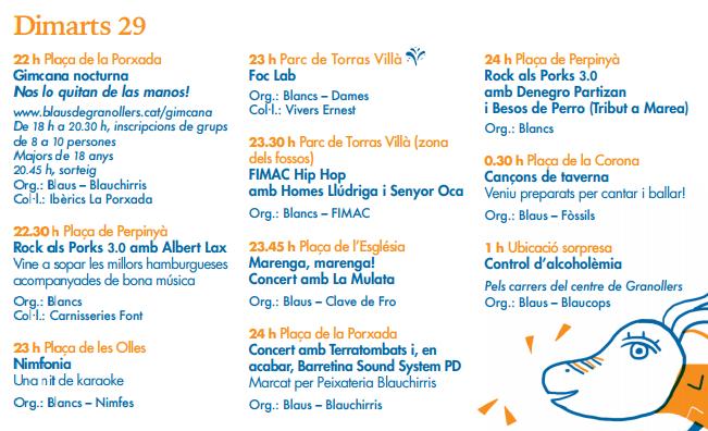 Festa Major de Granollers Blancs i Blaus Programa