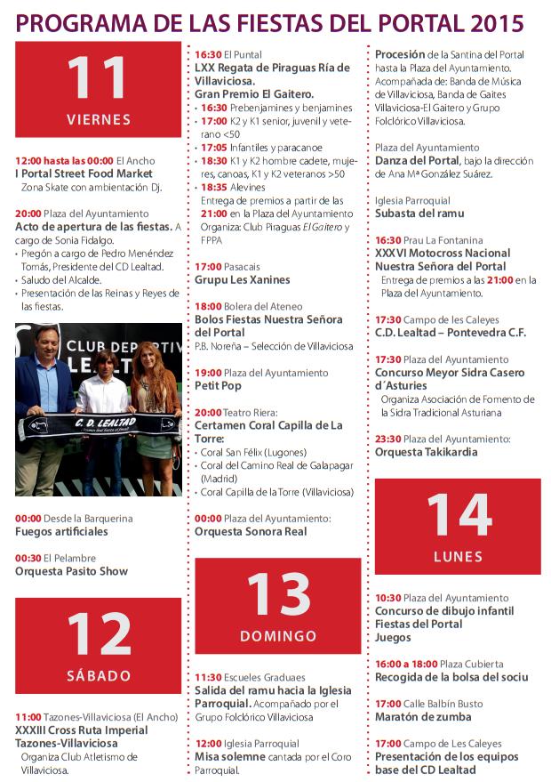 Fiestas del Portal 2015 en Villaviciosa Programa