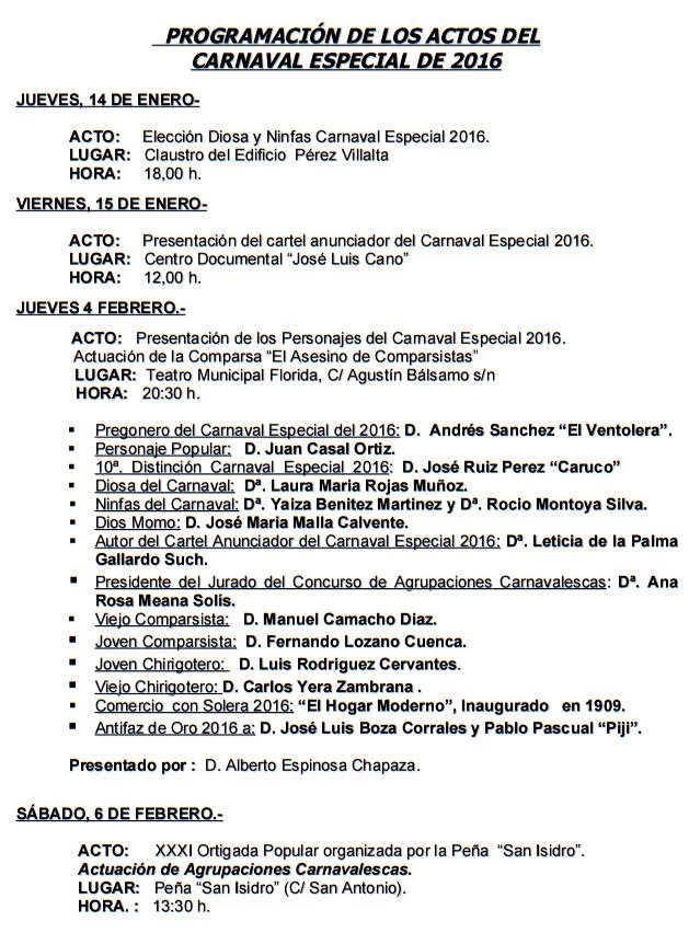 Programa del Carnaval de Algeciras