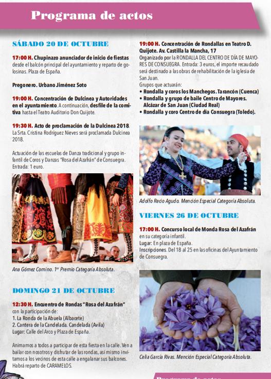 Fiesta de la Rosa del Azafrán en Consuegra Programa