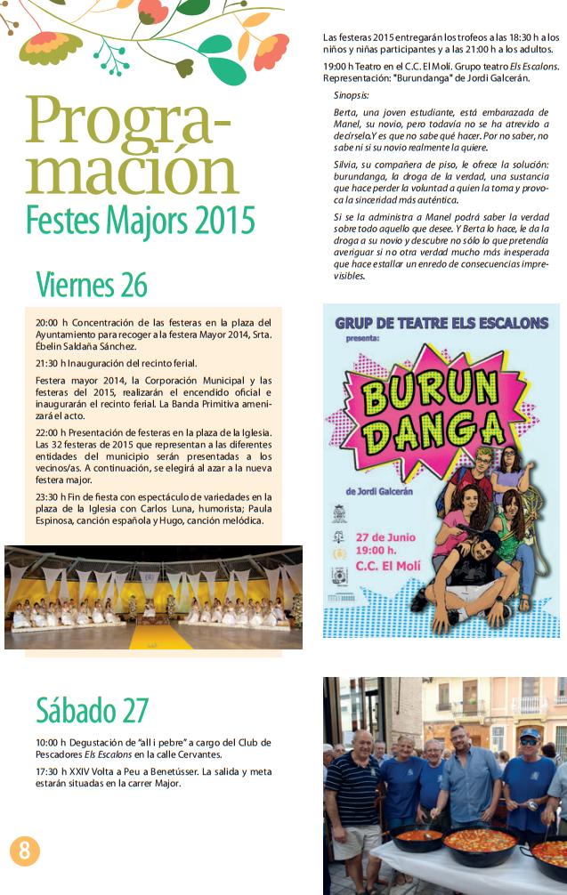 Programa de les Festes Majors de Benetússer 2015 Moros y Cristianos