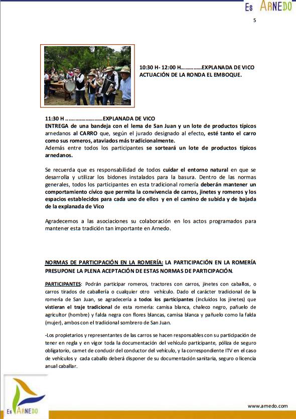 Programa de actividades de las Fiestas de San Juan 2015 en Arnedo