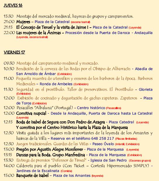 Programa de las Bodas de Isabel de Segura en Teruel