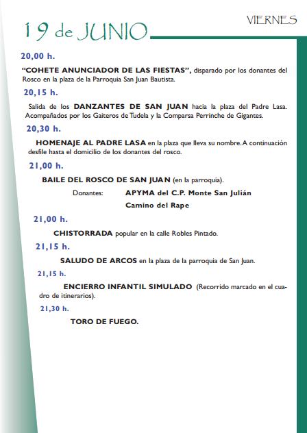 Programa de las Fiestas de San Juan 2015 en Tudela