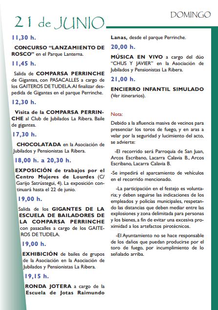 Fiestas de San Juan 2015 en Tudela - Programa