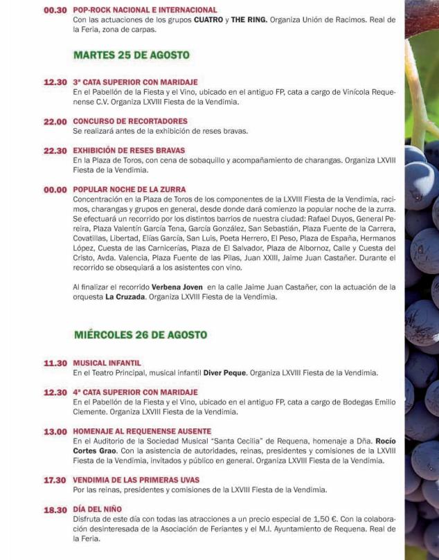Programa de la Feria y Fiestas de la Vendimia de Requena 2015
