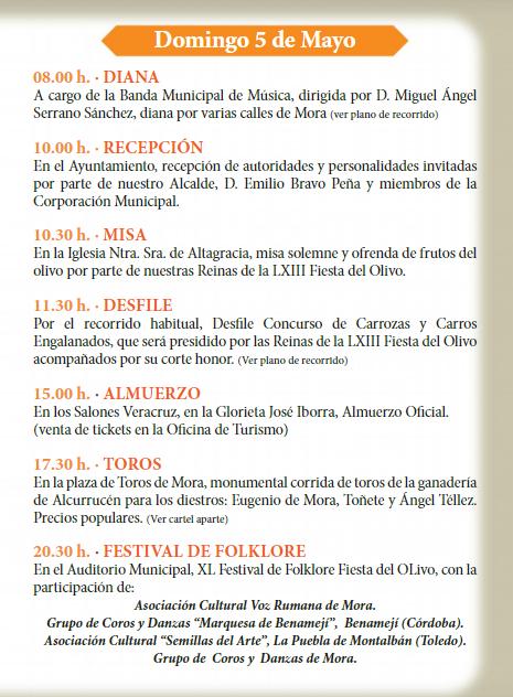 Programa de la Fiesta del Olivo en Mora