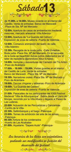 Programa del Festival Medieval de Alburquerque