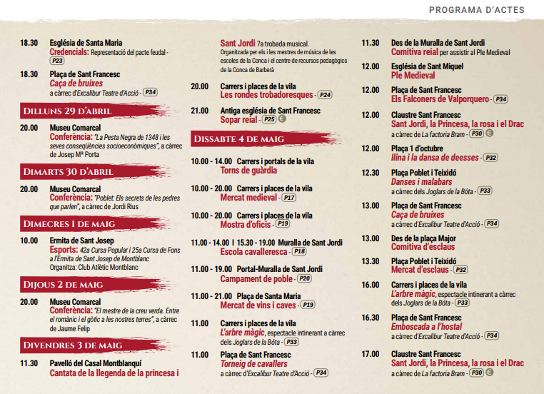 Programa de la Semana Medieval de Montblanc