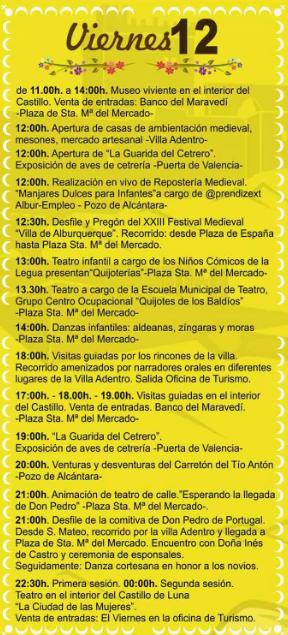 Festival Medieval de Alburquerque Programa