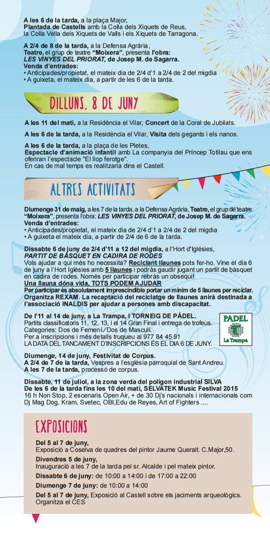 Programa de la Festa Major 2015 a La Selva del Camp