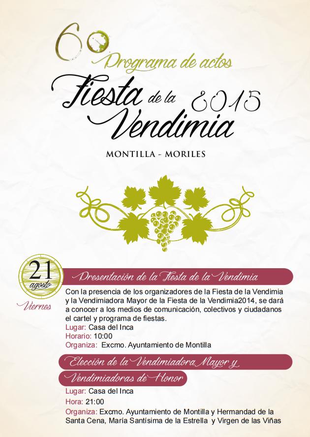 Fiesta de la Vendimia 2015 en Montilla Programa