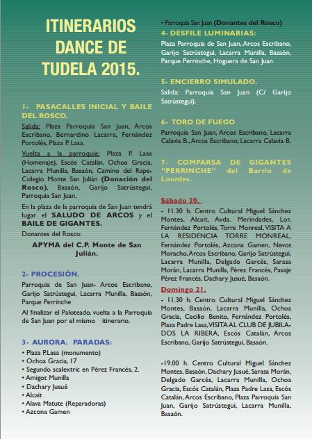 Dance de Tudela - Recorrido itinerario procesión