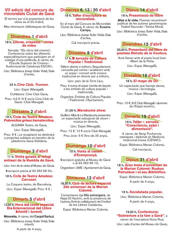 Diada de Sant Jordi en Gavà Programa