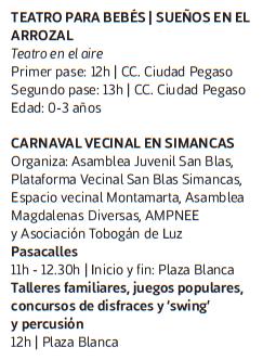 Programa del Carnaval de Madrid