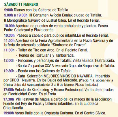 Programa de las Ferias de Febrero de Tafalla