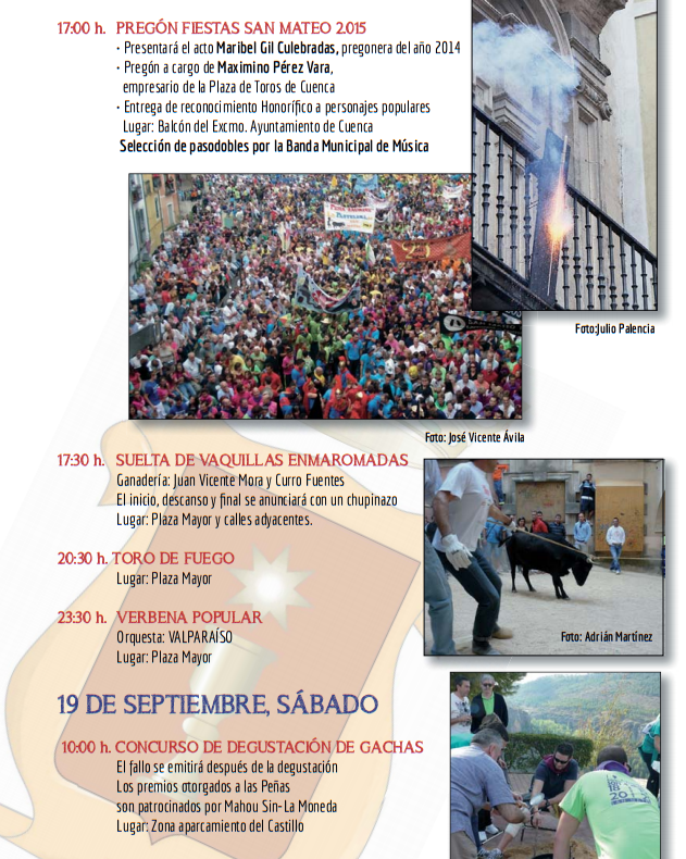 Fiestas de San Mateo 2015 en Cuenca Programa
