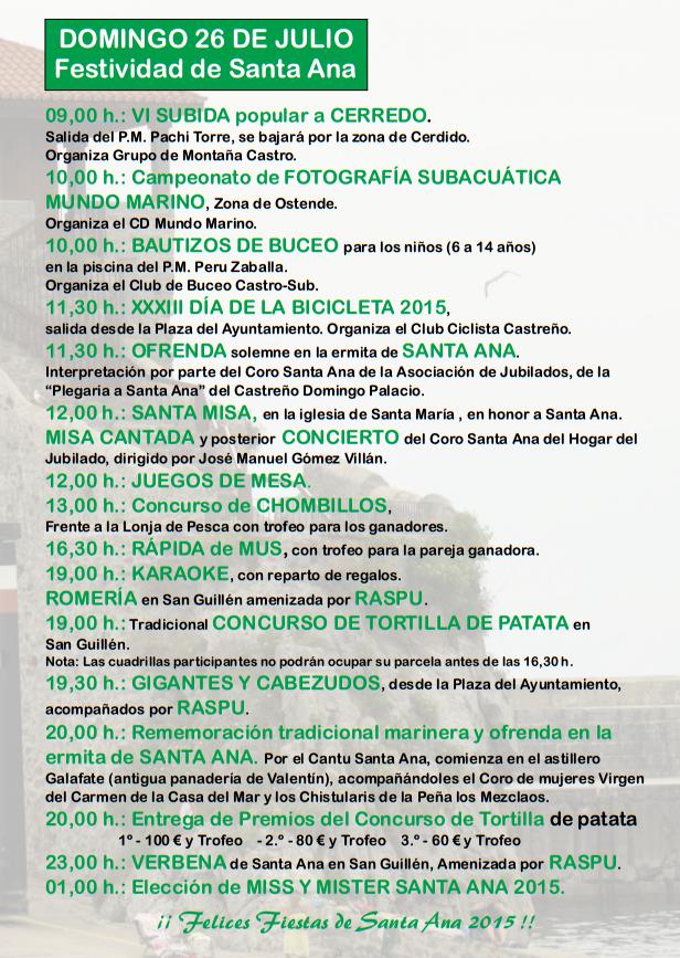 Programa de las Fiestas de Santa Ana 2015 en Castrourdiales