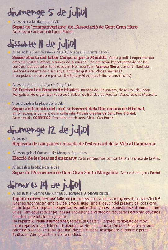 Programa de las Fiestas de Santa Margalida 2015