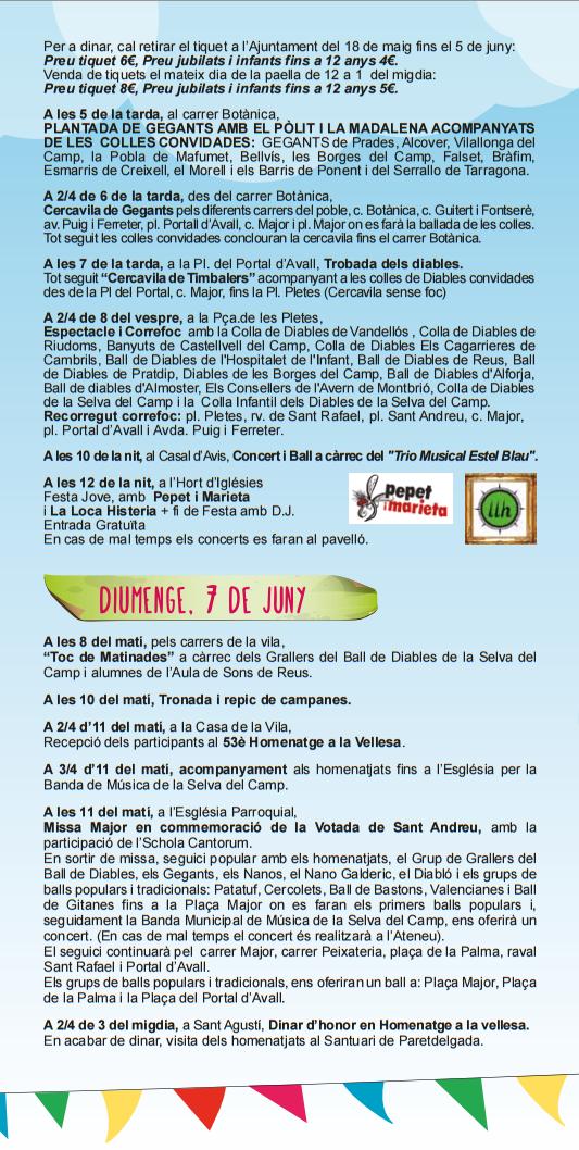 Programa de la Festa Major 2015 a La Selva del Camp