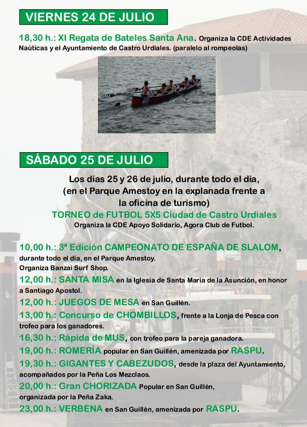 Fiestas de Santa Ana en Castro Urdiales 2015 Programa