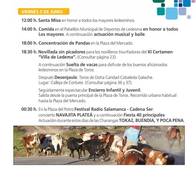 Fiestas del Corpus de Ledesma 2015 Programa
