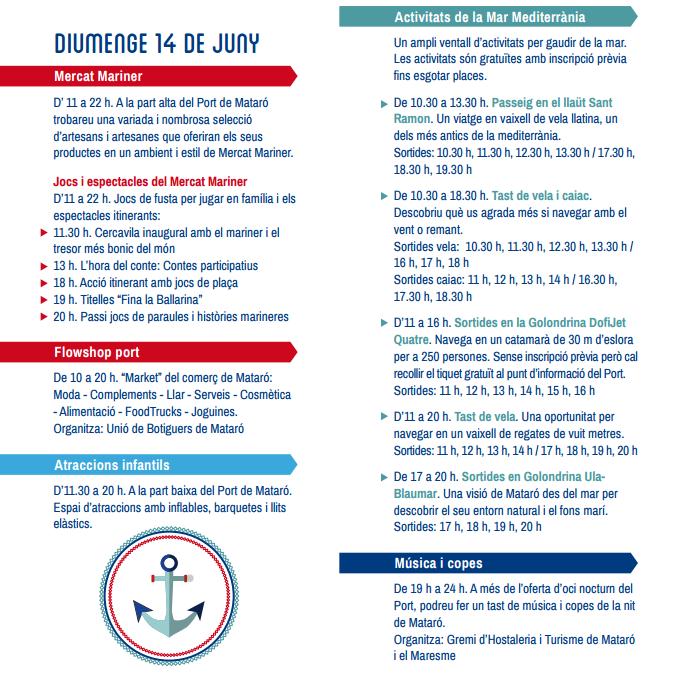 Festa al Port a Mataró 2015 Programa