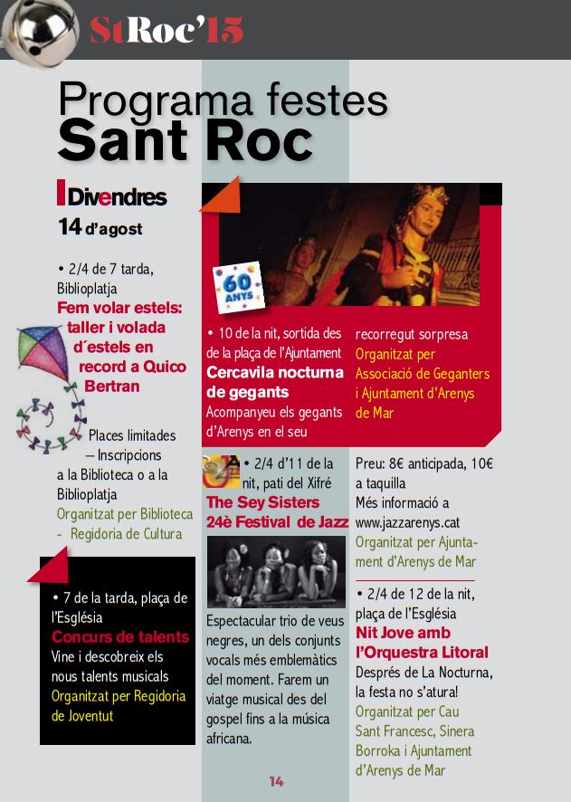 Festes de San Roc en Arenys de Mar 2015 Programa