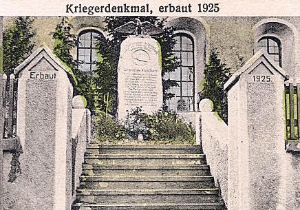frühere Ansichtskarte vom Kriegerdenkmal