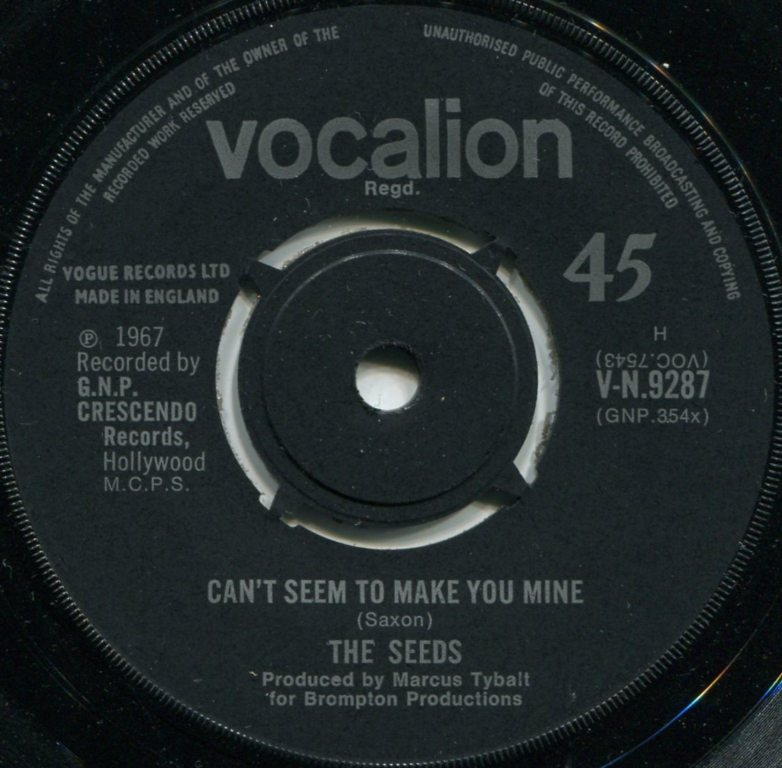 Seeds (The) - Can't Seem To Make You Mine / Daisy Mae - UK Vocalion V-N 9287