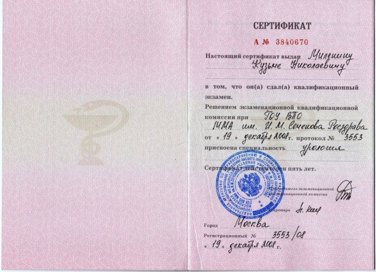 Сертификат по урологии