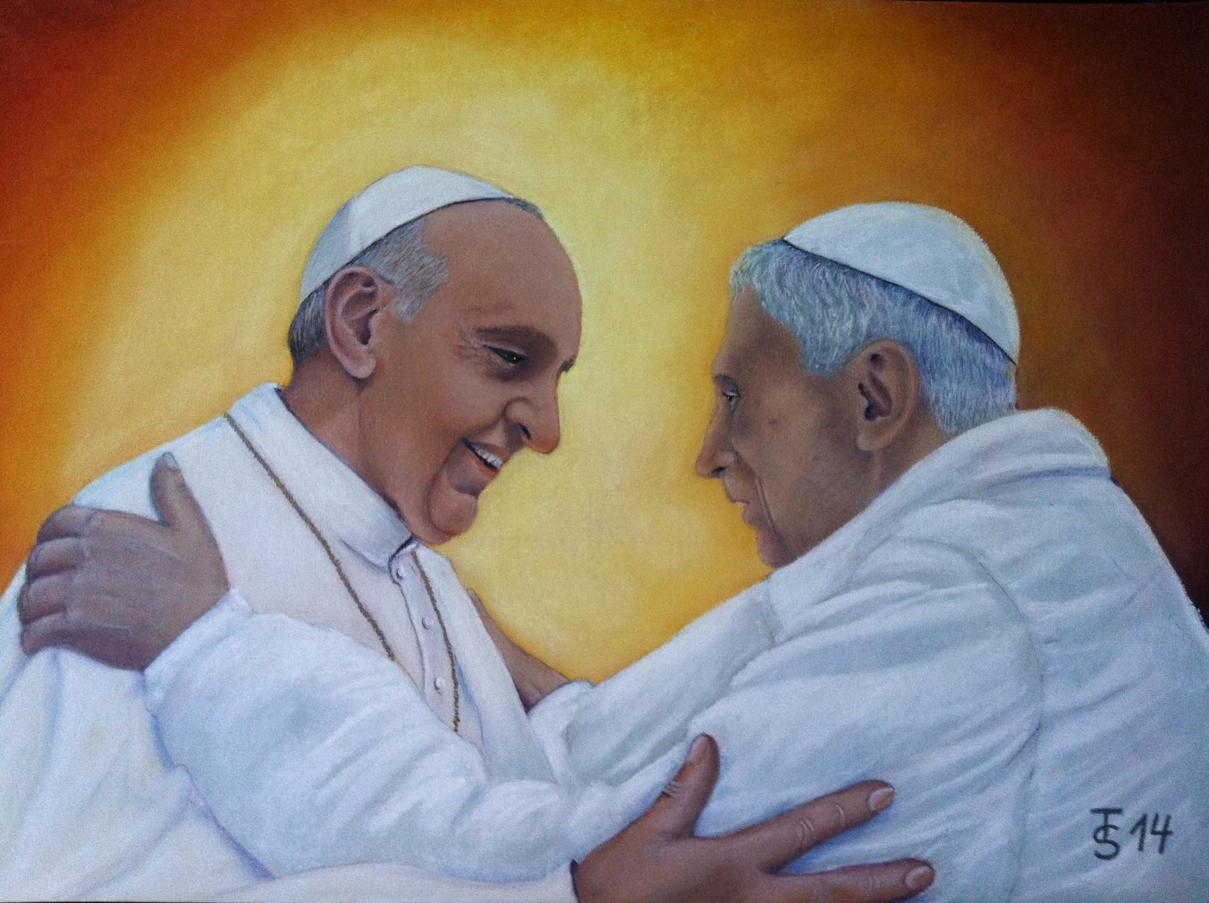 Treffen der Päpste  _  (Pastellkreide, 70 x 50 cm)