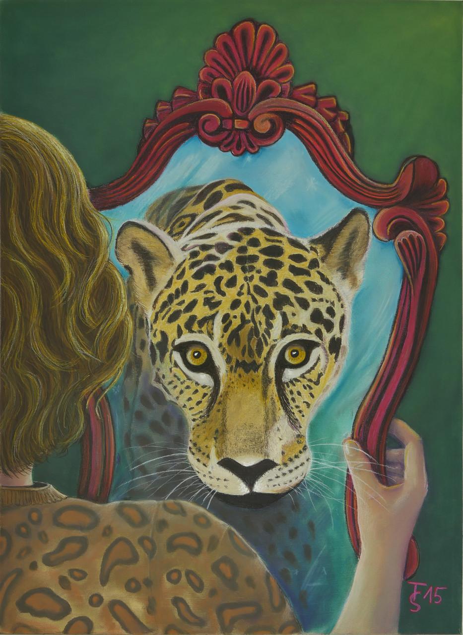 Leoparden-Look_     (Pastellkreide, 50 x 70 cm)