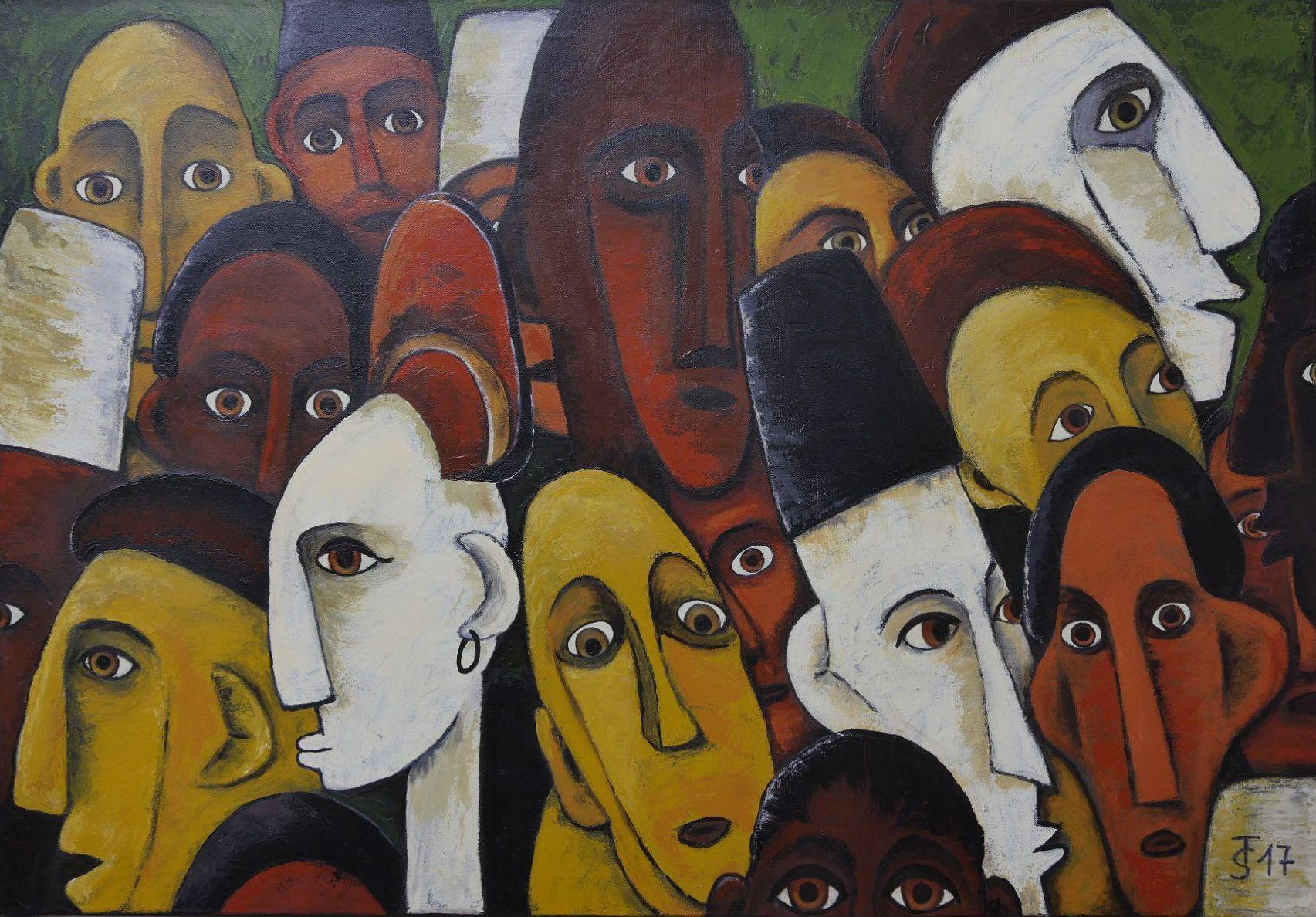 Große Afrikanische Vielfalt  _  (Acryl auf Leinwand, 100 x 70 cm)
