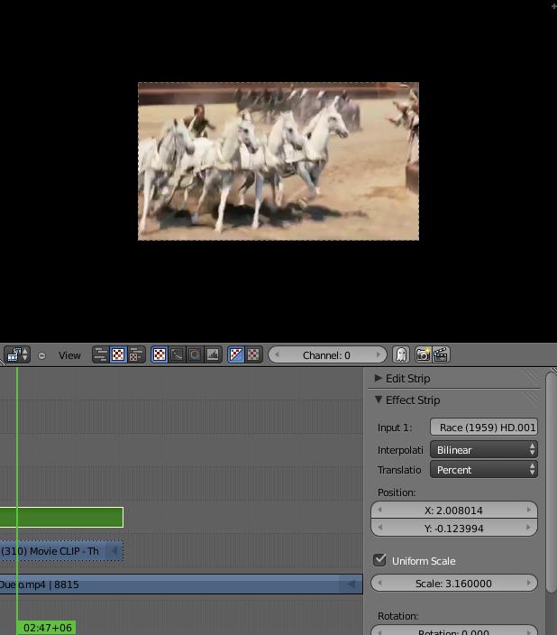 Foto 7: En el Panel de Edición tenemos el menú Effect Strip para zoom y otros efectos.