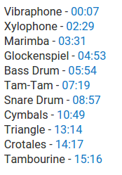 List of percussion instruments.