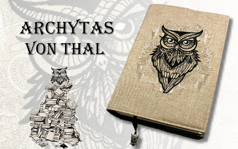 Buchhülle Archytas von Thal mit wunderschöner Eulen-Stickerei