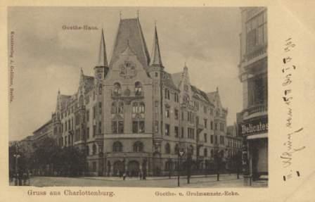Postkarte mit einem Bild der Goethestraße / Grolmanstraße in der Nähe der Goethestraße 12 – um 1900 Quelle: http://www.zeno.org - Zenodot Verlagsgesellschaft mbH