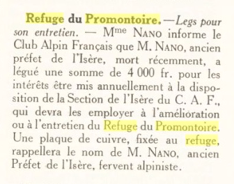 """Extrait de """"Chroniques Alpines"""" retrouvé par Bruno Gardent suite à la publication mardi 17 octobre sur le """"En Direct"""" de la photo de panneaux de 1929 recupérés durant les travaux. Merci !"""