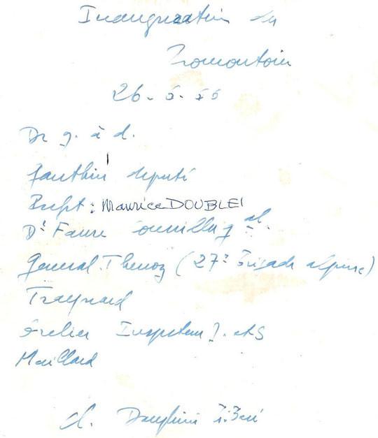 Sur le dos de la photo de l'inauguration, quelques notes du journaliste du Dauphiné Libéré.