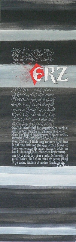Kalligrafie, Kalligraphie, Schriftkunst auf Leinwand, Acrylfarbe