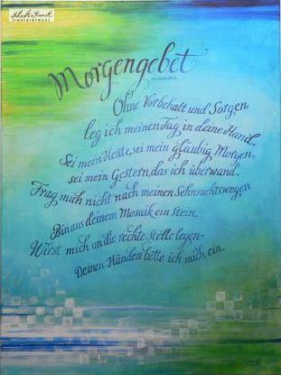 Kalligraphie in Blautönen: Morgengebet