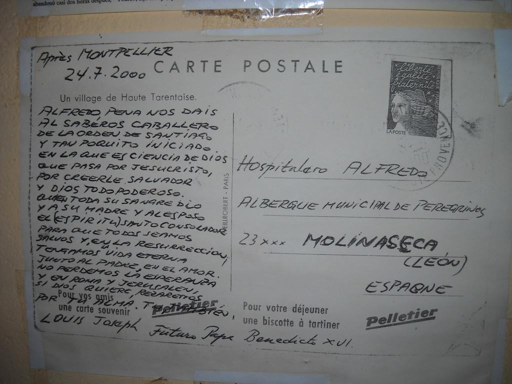 POSTAL DEL PAPA AL HOSPITALERO DEL ALBERGUE