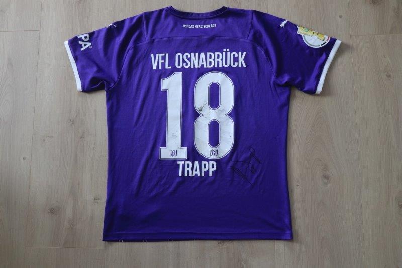 VfL Osnabrück 2021/22 Heim signiert, Nr. 18 Trapp (Matchworn DFB-Pokal gg Bremen 07.08.21)